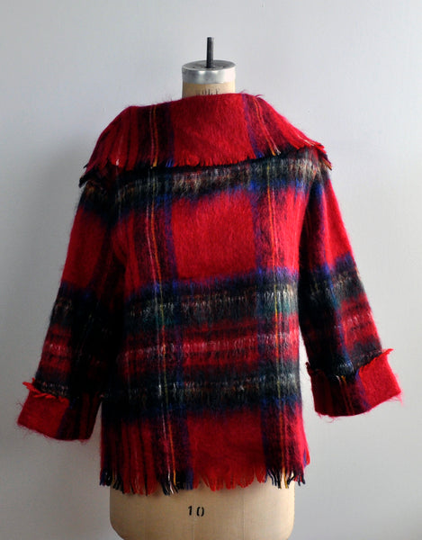 Vintage 1970s Strathtay Red Tartan Scottish Mohair Wool Fringe Sweater