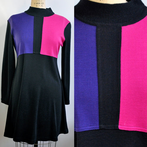 Vintage Karin Stevens Petite Colorblock Swing Knit Purple Pink Black Dress