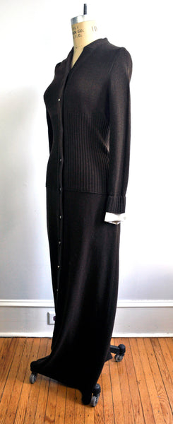 Vintage 70s Designer Howard Lawrence for Maisonette Brown Ribbed Maxi Dress Jeweled Buttons