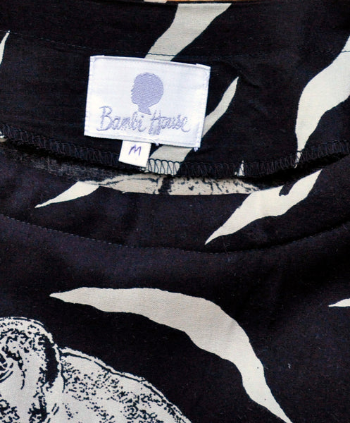 Vintage Bambi House Black and White Tiger Maxi Dress and Matching Silk Scarf