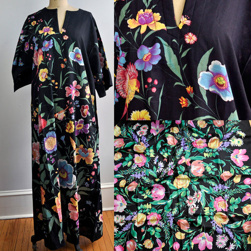 Vintage Bambi House Colorful Floral Black Maxi Dress and Matching Silk Scarf