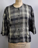 Vintage 1980s West Germany Braun Black and White Plaid Button Down See-through Blouse