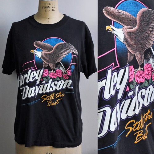 Vintage 1989 Harley Davidson Eagle Roses Black Cotton T-shirt