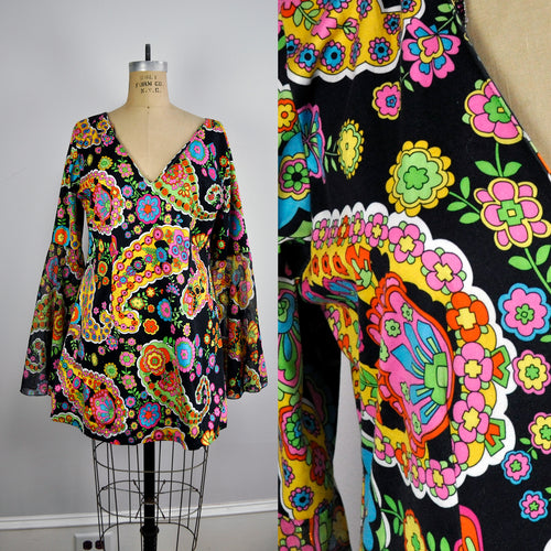 Vintage Groovy Bell Sleeve V-Neck Disco Colorful Paisley Mini Dress