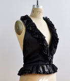 Vintage Rare Lee Menichetti Elegant Black Ruffled Lace Halter Top