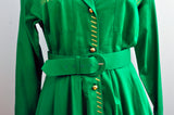 Vintage 80s Adam Douglass Adriana Papell Green Button Down Metallic Embroidery Stitch Collared Dress
