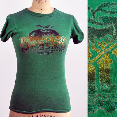 Vintage 70s Green Beatles Metallic Glitter Iron-on Apple T-Shirt