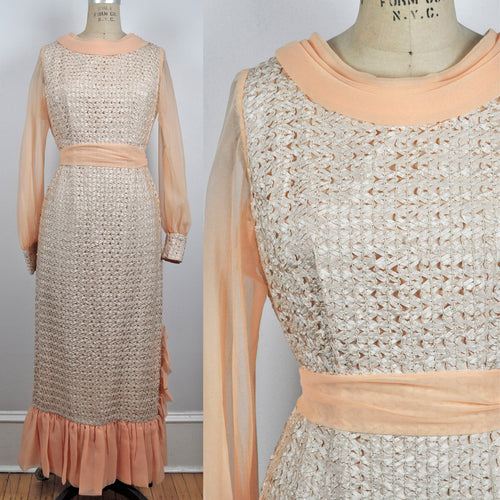 Vintage 1950s Peach Sherbert Long Sleeve Ruffle Chiffon Taffeta Lined Dress