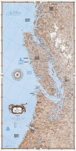 Sobay Co. Pacific NW Coast South Part Wall Map