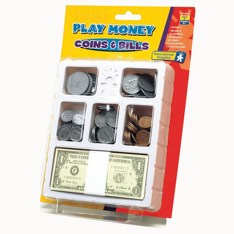 Lets Pretend Play Money Coins & Bills Tray