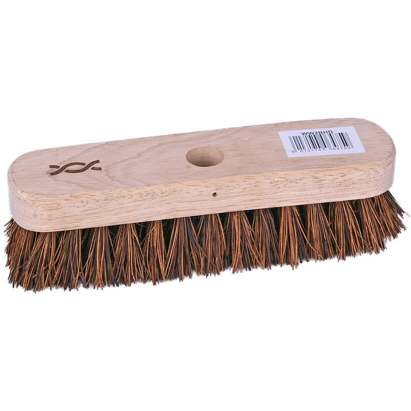 Wooden deck scrub brush - stiff bristles - Case of 12 broom heads 28.8cm