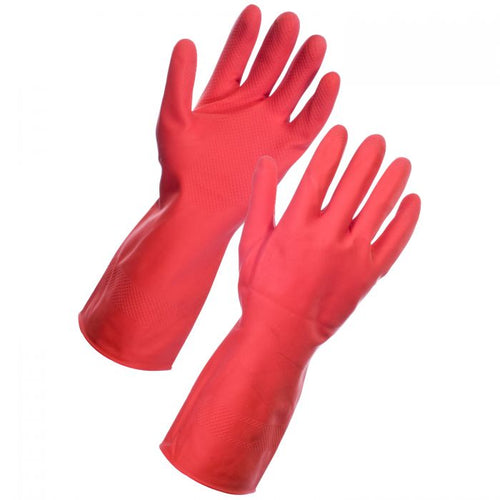 SuperTouch Red Large Household Rubber Gloves - 12 pairs
