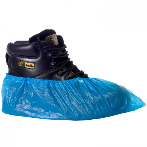 SuperTouch Disposable CPE Overshoe Covers Blue - Pack of 100