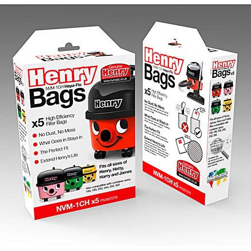 Genuine Henry Bags Pack Of 5 Dustbags - NVM1CH - Henry, Hetty, Basil, Harry, James Bags
