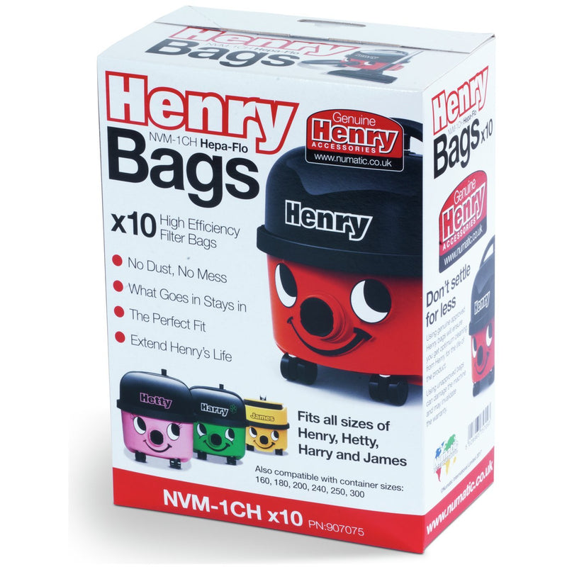 Genuine Henry Bags Pack Of 10 Dustbags - NVM1CH - Henry, Hetty, Basil, Harry, James Bags