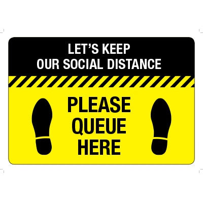 Social Distancing Please Que Here Floor Signs - Anti Slip 400 x 300 Self Adhesive - Pack of 5