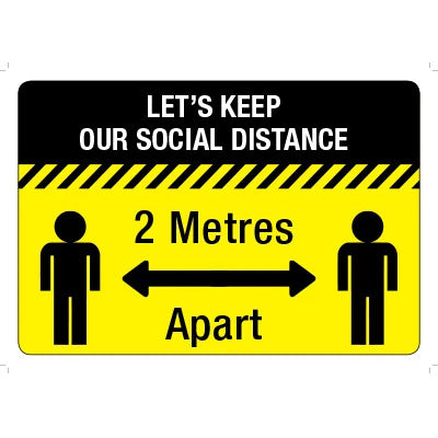 Social Distancing 2 Meters Apart Floor Signs - Anti Slip 400 x 300 Self Adhesive - Pack of 5
