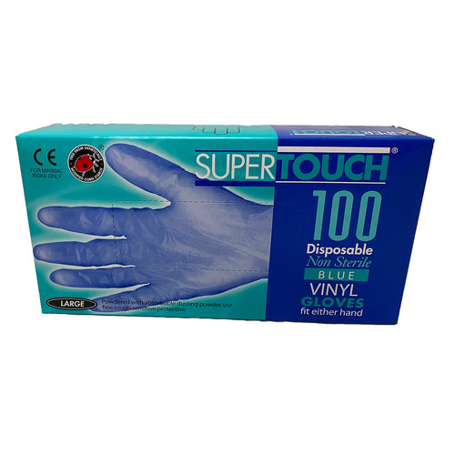 SuperTouch Disposable Non Sterile Blue Vinyl Large Gloves - Box of 100