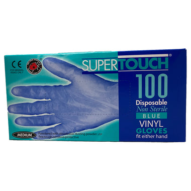 SuperTouch Disposable Non Sterile Blue Vinyl Medium Gloves - Box of 100