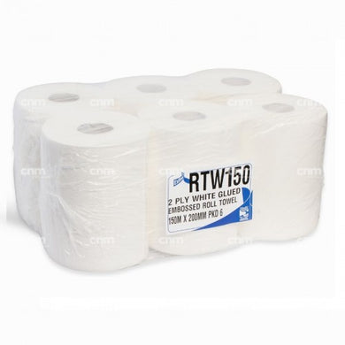 2 Ply White Roll Towel - 200mm x 150 Meters -  Roll Towel - Candor Services