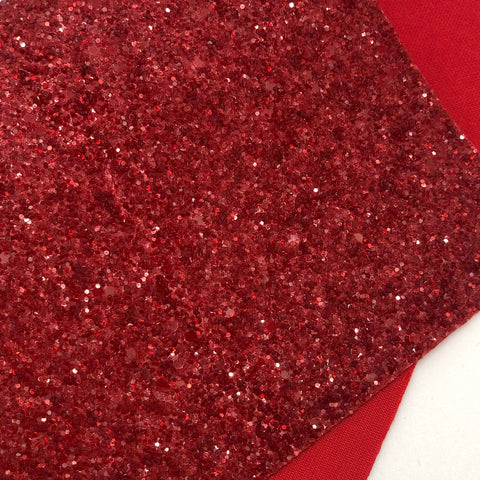 Glassy Berry Red Chunky Glitter Sheet