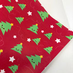CLOSEOUT Cute Christmas Trees Printed Faux Leather
