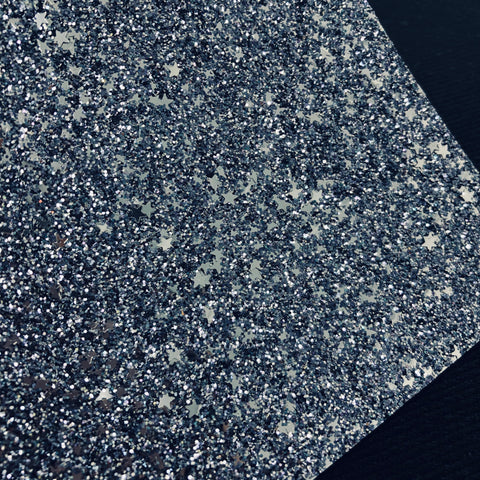 Dark Skies Silver Stars Glitter Sheet
