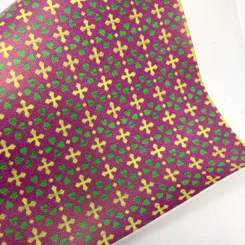 Imperfect/Closeout Mardi Gras Printed Faux Leather