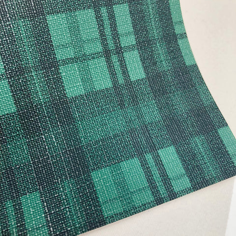 Green and Black Plaid Textured Faux Leather