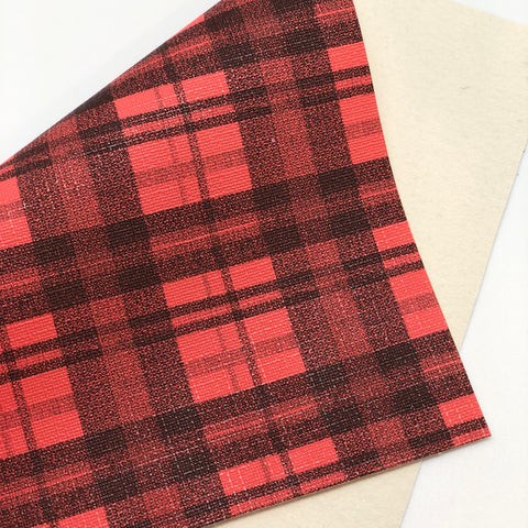 Red Black Plaid Textured Faux Leather