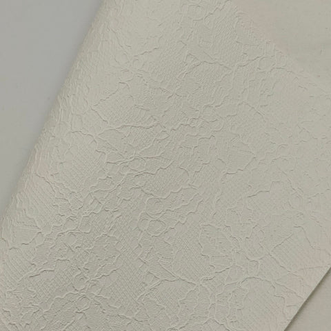White Lace Textured Faux Leather