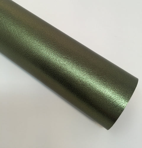 Metallic Green Smooth Faux Leather