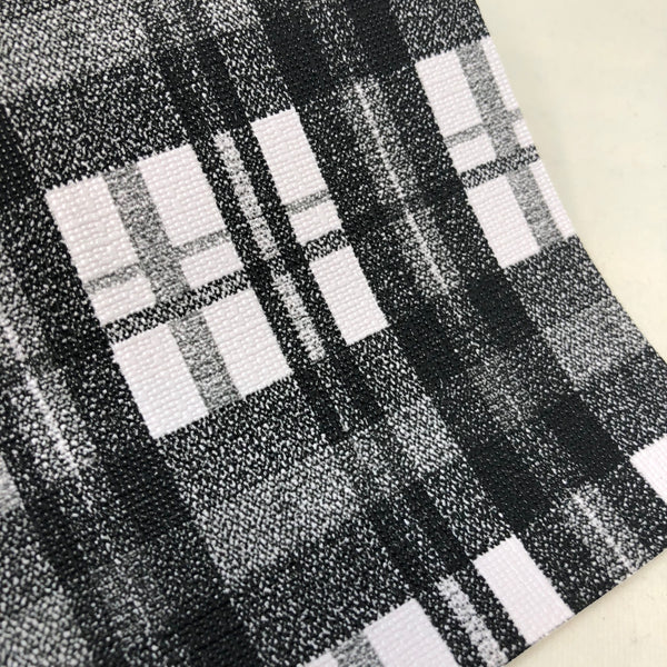White and Black Plaid Textured Faux Leather