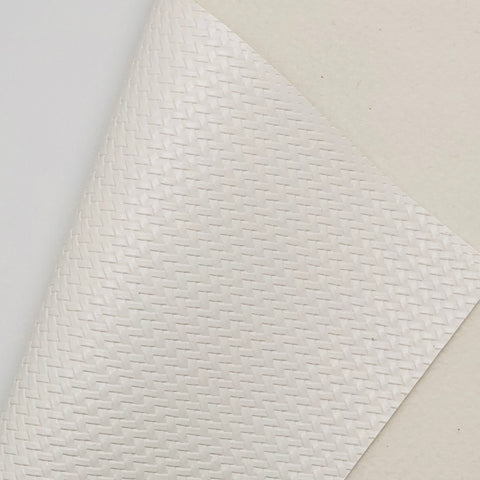 White Basket Weave Textured Faux Leather