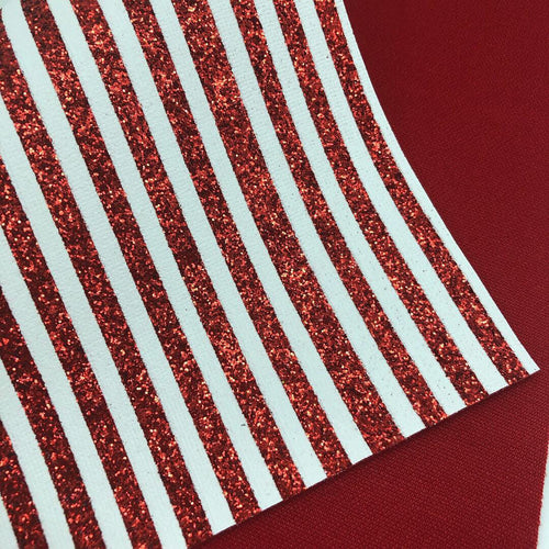Red Glitter and white printed stripes Chunky Glitter