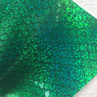 Green HOLO Mermaid Scales Embossed Canvas