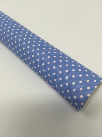 Classic Blue Polka Dots Faux Leather