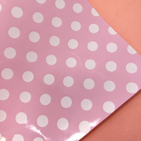 Baby Pink and White Polka Dot Patent Faux Leather