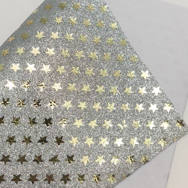 Silver and Gold Printed Stars Fine Glitter Sheet