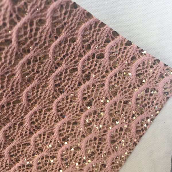 Pink and Gold Scalloped Lace Glitter Canvas