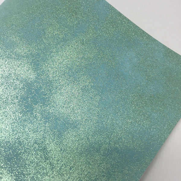 Mint Metallic Sponged Faux Leather