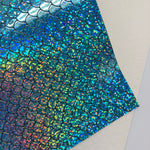 Blue HOLO Mermaid Scales Embossed Canvas