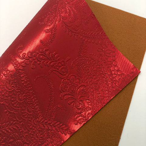 Metallic Red Embossed Textured Faux Leather