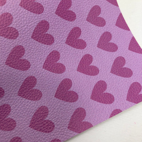 Light Purple Large Hearts Textured Faux Leather