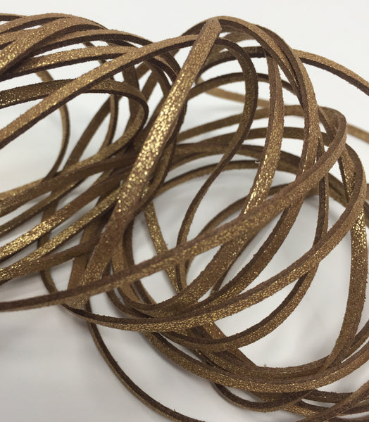 Shimmer Dark Gold Faux Suede Cord 5 yards