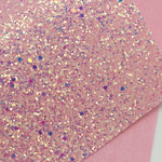 Pink and Transparent Purple Iridescent Chunky Glitter Sheet