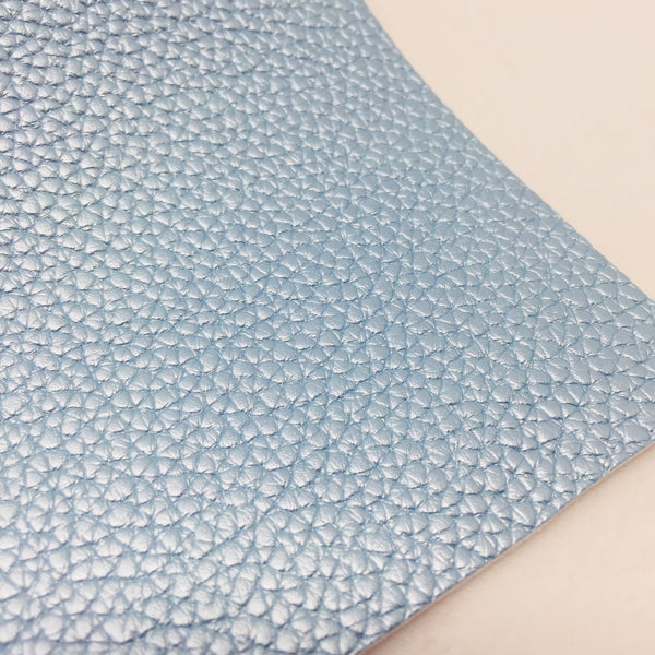 Metallic Baby Blue Textured Faux Leather