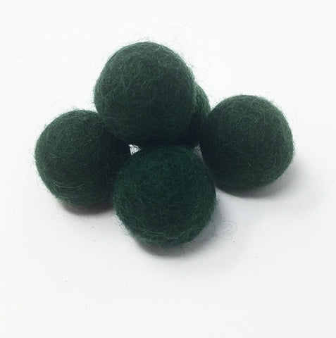 Hunter Green Felt Balls 2.5CM