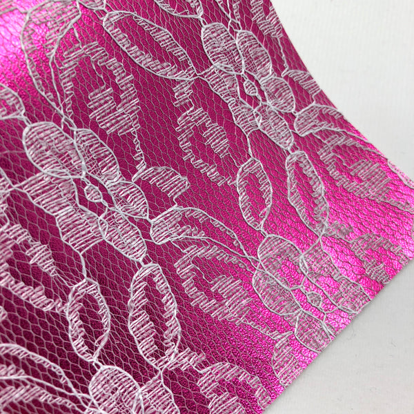 Dark Pink Lace Textured Faux Leather