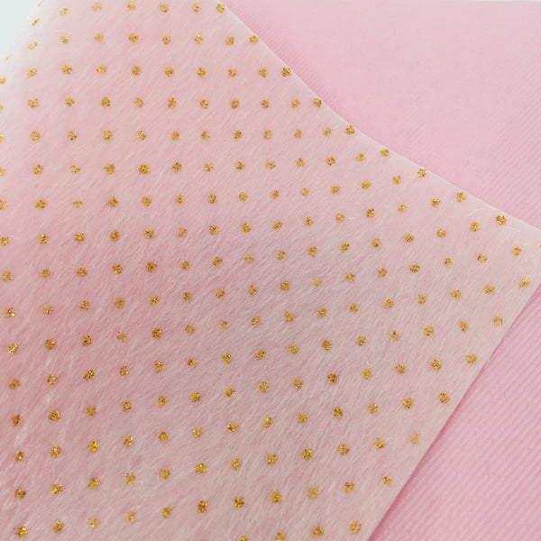 Pink Faux Fur with Gold Glitter Dots Fabric Sheet